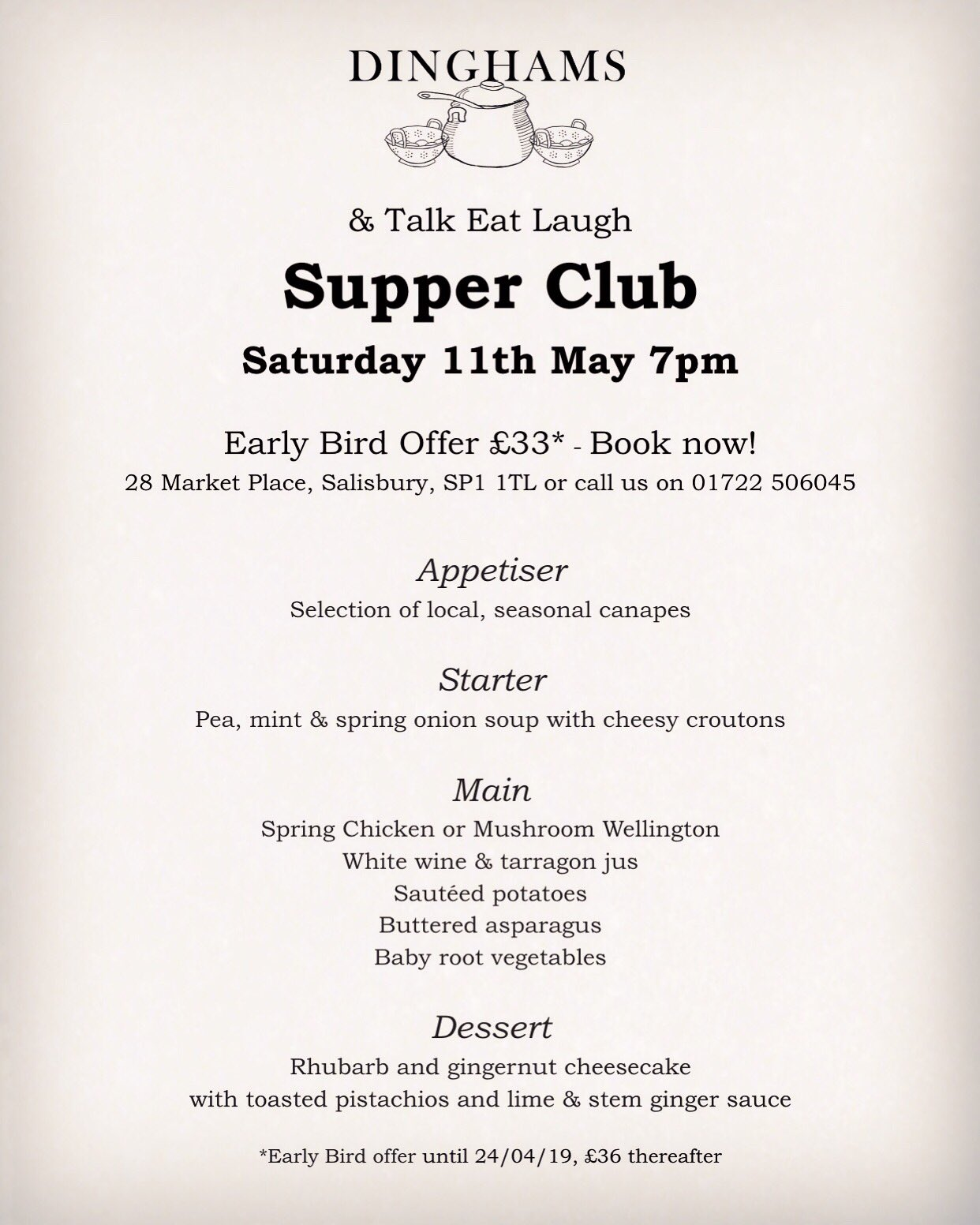 Supper Club with Dinghams, 11th May