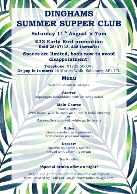Supper Club with Dinghams, 11th August