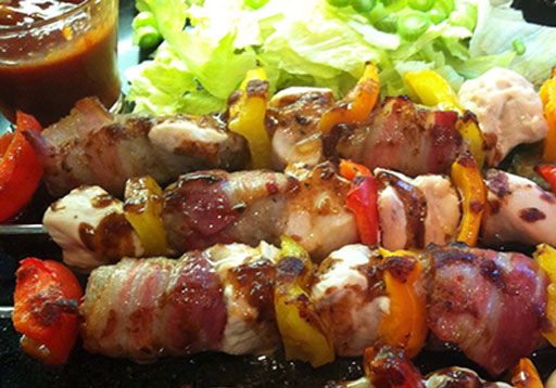 Chicken, Sausage and Bacon Kebabs