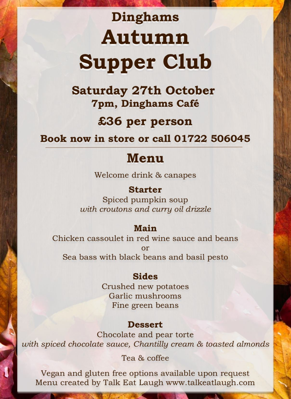 Supper Club with Dinghams, 27th October